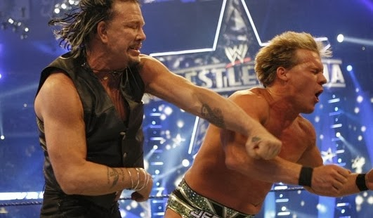 Mickey Rourke punches Chris Jericho at WrestleMania