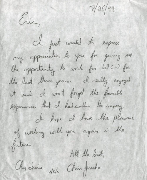 Chris Jericho letter to Eric Bischoff