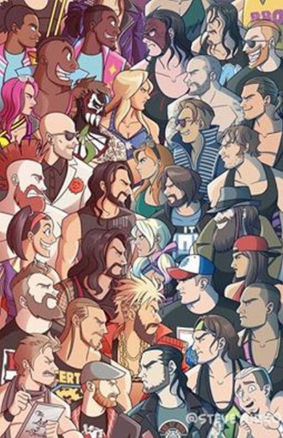 drawing of Raw versus Smackdown rosters