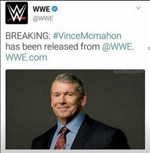 Vince McMahon has been released from WWE