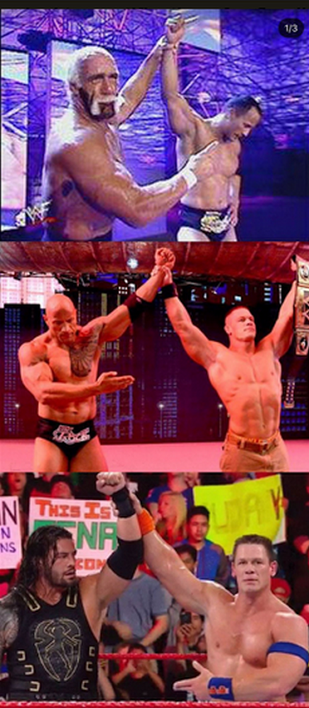 WWE three passing of the torch