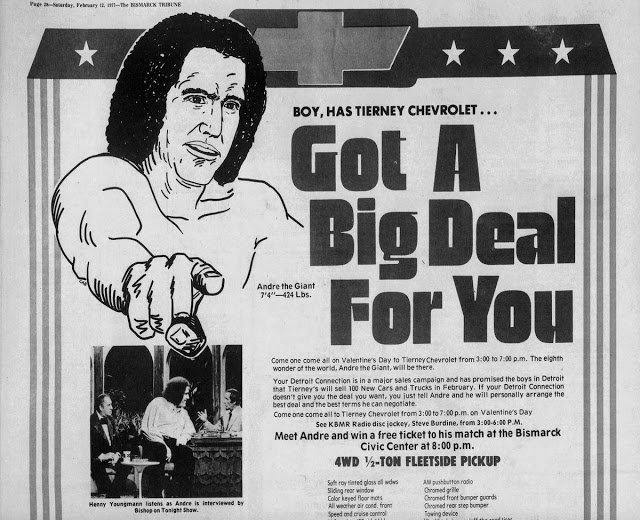 Andre the Giant car dealership publicity (1977)