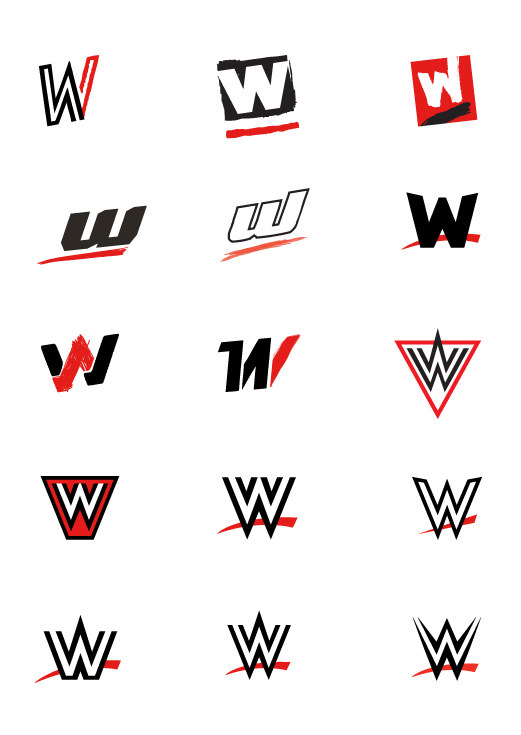 All the proposed WWE logos before they selected the good one