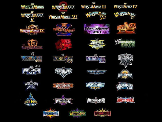 All WrestleMania logos over the years