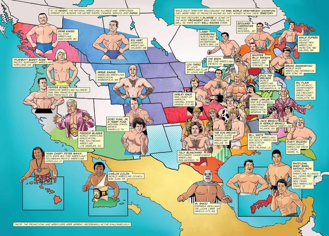NWA territories with their most well-known stars wrestling map