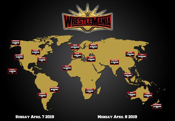WrestleMania 35 live diffusion hours around the world